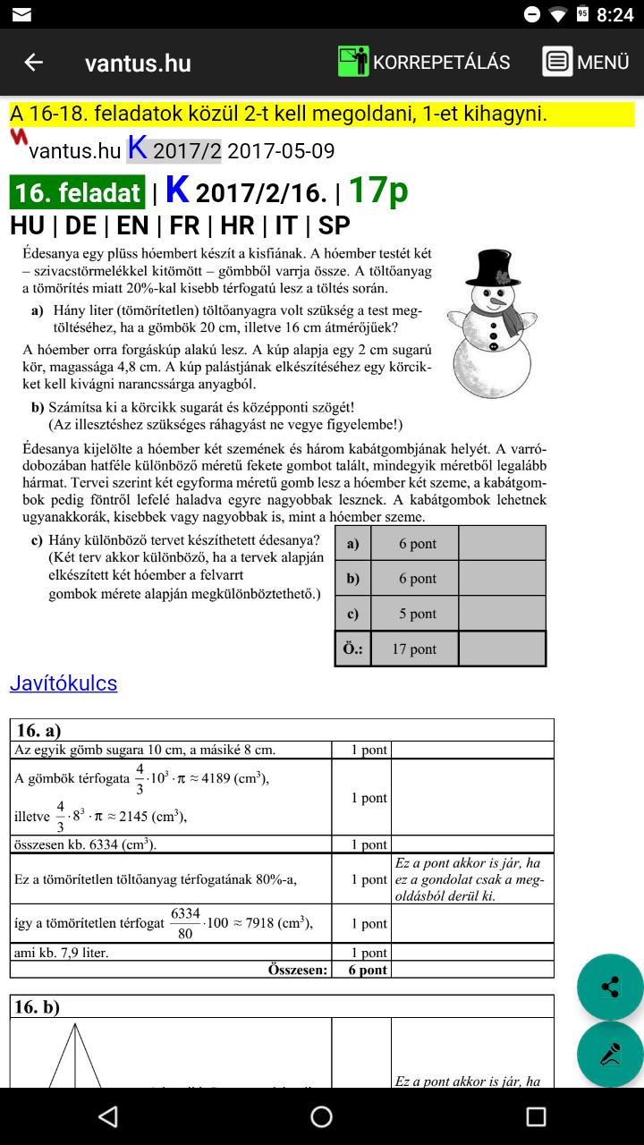 Egy középszintű érettségi feladatlap (nagy feladatok)